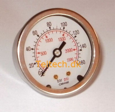 "Rustfri 1/4"" Manometer Ø50 0-100 Bar MS bagud"